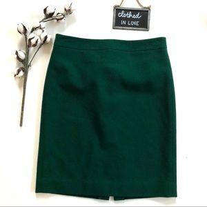 J. Crew Emerald Green Wool The Pencil Skirt